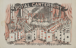 Poster for the opening of the autumn season at the Royal Canterbury Theatre of Varieties in 1891 reverse